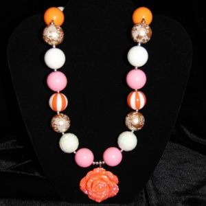 Vtg 80s Colorful large Bead Rose Pendant necklace
